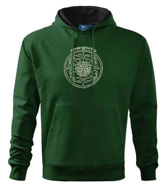 Zöld színű pulóver népi mintával